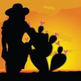 Mädchenschattenbild in der Wüste mit Kaktuserstem teil Stockbilder