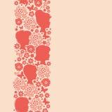 Mädchenschattenbilder unter vertikalem nahtlosem der Blumen Stockbild