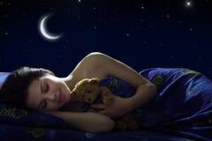 Mädchenschlafen Stockbild