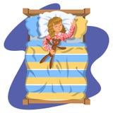 Mädchenschlafschlafenszeit in seinem Schlafzimmerbett mit Teddybären lizenzfreie abbildung