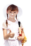 Mädchenschulmädchen, das Buch hält Stockfotografie