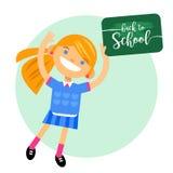 Mädchenschulmädchen mit einem Zeichen zurück zu Schule Vector Illustration eines flachen Designs, Element, Glückwunschkarten, Fah Lizenzfreie Stockfotografie