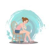 Mädchensitzenabnutzungsrollschuhschuhsport-Artvektor Lizenzfreie Stockbilder