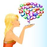 Mädchensocial media-Zeichen-Mitteilungsgespräch Lizenzfreies Stockfoto