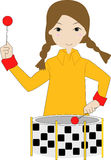 Mädchenspiel die Trommel Lizenzfreies Stockfoto