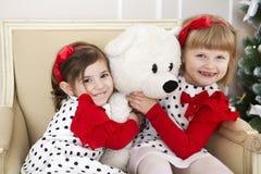 Mädchenspiel Weihnachten Stockbild