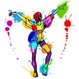 Mädchenstraßentänzer mit bunten Farbenklecksen Stockfoto