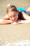 Mädchenstrand Lizenzfreies Stockfoto
