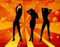 Mädchentanzen auf einem Retro- Hintergrund Stockfotografie
