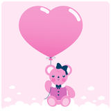 Mädchenteddybär und -ballon lizenzfreie abbildung