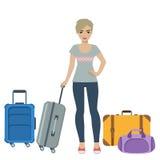 Mädchentourist mit Gepäck Stockfoto