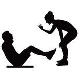 Mädchentrainer hält Schulungseinheit Erschütterungen eines Mannes ein Presseschwarzschattenbild auf einer weißer Hintergrund loka Lizenzfreie Stockfotos