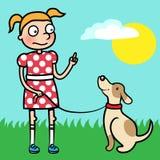 Mädchentrainingsgehorsam mit gut benommenem Hund Stockbilder