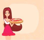 Mädchenumhüllungspizza Lizenzfreie Stockbilder