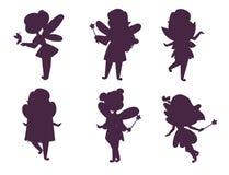 Mädchenvektorcharakters Feenprinzessinschattenbildes nette schöne Artkarikatur des feenhaften wenig Märchenlandmodekostüm vektor abbildung