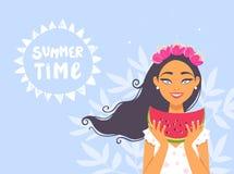 Mädchenwassermelone Lizenzfreie Stockbilder