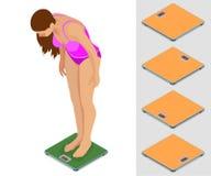 Mädchenwiegen Junges sportliches Mädchen, das auf den Skalen steht Isometrische Illustration des flachen Vektors 3d Lizenzfreies Stockbild