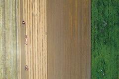 Mähdrescher, die auf dem goldenen Weizengebiet arbeiten Lizenzfreie Stockfotografie