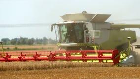Mähdrescher erntet goldenen Weizen landwirtschaft Prores, Zeitlupe stock video