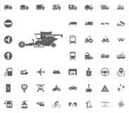 Mähdrescherikone Gesetzte Ikonen des Transportes und der Logistik Gesetzte Ikonen des Transportes Stockfoto