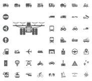 Mähdrescherikone Gesetzte Ikonen des Transportes und der Logistik Gesetzte Ikonen des Transportes Stockfotografie