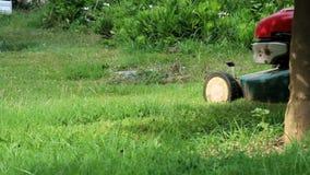 Mähen des Rasens stock footage