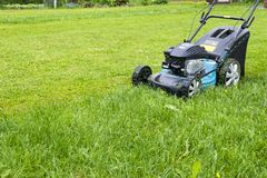 Mähende Rasen Rasenmäher auf grünem Gras Mähergrasausrüstung mähender Gärtnersorgfaltarbeits-Werkzeugabschluß herauf sonnigen Tag stockbilder