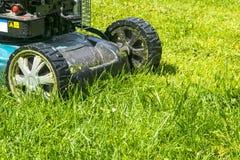 Mähende Rasen, Rasenmäher auf grünem Gras, Mähergrasausrüstung, mähendes Gärtnersorgfalt-Arbeitswerkzeug, Abschluss herauf Ansich Stockbilder