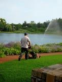 Mähender Rasen des Mannes im Park Lizenzfreie Stockbilder