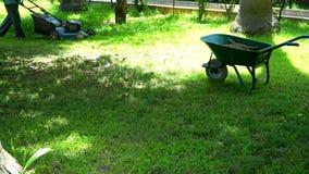 Mähendes Gras des Mannes mit einem Rasenmäher stock video footage
