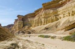 Mäktig naturlig kanjon i den Namibe öknen av Angola Arkivfoto