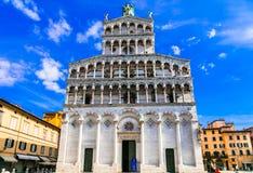 Mäktiga San Michele Abbey, Lucca, Tuscany, Italien Arkivbild
