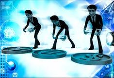 män 3d med illustrationen för dollareuro- och yentecken Arkivbild