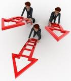 män 3d ordnar till klättrar upp piltrappabegrepp Royaltyfri Foto