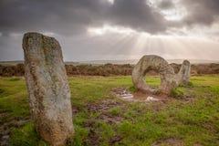 Män-en-Tol Cornwall England UK Arkivfoton