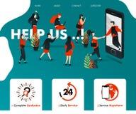 Män får ut ur smartphonen och HJÄLP UPP folket tilldrog och sammanfogar vara för affärsfinans, försäkring, kan annonsering, servi royaltyfri illustrationer