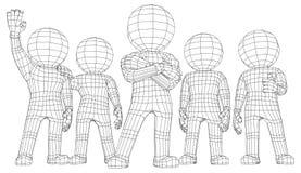 Män för docka 3d fem vänner vektor illustrationer