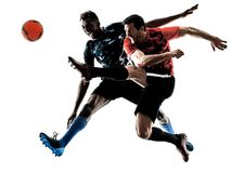 Män för fotbollspelare isolerade konturvitbakgrund Arkivbild