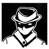 Män för spionsvartbakgrund med en mystisk hatt vektor illustrationer