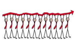 12 män i band bär en röd pil, ett tillväxtdiagram Metafor av ledarskap och teamwork royaltyfri illustrationer