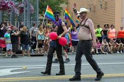 Män i lädermarschen i Columbus glad STOLTHET ståtar Royaltyfria Foton