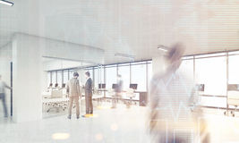 Män i regeringsställning med rundat hörnkonferensrum som tonas Arkivfoton