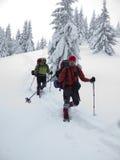 Män i snöskor går i bergen royaltyfri bild