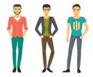 Män i trendig kläder också vektor för coreldrawillustration Royaltyfri Foto