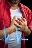 Män med bröstkorgen smärtar - hjärtinfarkt Royaltyfria Foton