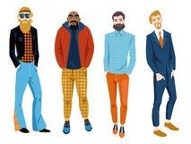 Män med olika typer av beardsPrint Royaltyfri Bild