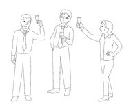 Män och exponeringsglas för kvinnafinkachampagne Arkivfoton