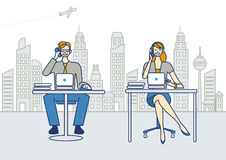 Män och kvinna som arbetar i ett kontor royaltyfri illustrationer