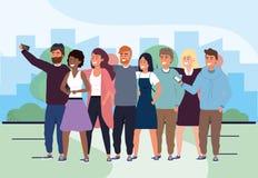 Män och kvinnavänner med selfieteknologi vektor illustrationer