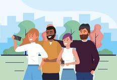 M?n och kvinnav?nner med smartphoneselfieteknologi stock illustrationer